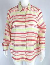 Foxcroft Satin Stripe Shirt Button Front Multicolor Plus Size 20W NWT $154