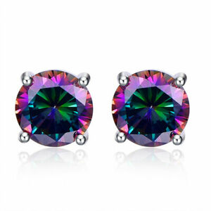 Stunning Sterling Silver Mystic Fire Rainbow Topaz Round Stud Earrings 10mm