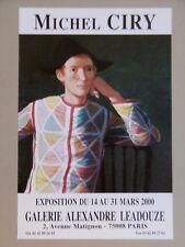 CIRY Michel Affiche originale 2000 Arlequin Portrait Théâtre Arlecchino art
