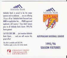 ADELAIDE BANK GIANTS 1995-96 POCKET SCHEDULE: AUSTRALIAN BASEBALL LEAGUE - RARE!