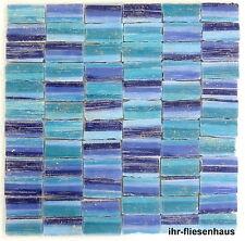 KER-AV Feinsteinzeug Mosaikfliese L204 Carnval Fredo Blau mit Glitzer 30x30cm
