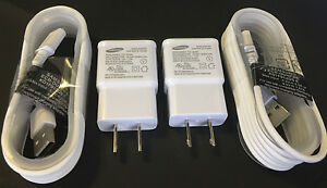 (2x) OEM Samsung 2.0 Amp Charger for Galaxy Note 3 S5 S4 + 5ft 1.5M Charge Cable
