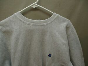 Men's Vintage Champion Reverse Weave C On Chest Gray Crewneck Sweatshirt XL