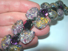 LARGE VINTAGE AUSTRIAN CATS EYE LAVENDER PURPLE RHINESTONE COLOR CHANGE BRACELET
