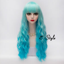 60CM Mixed Blue Long Curly Lolita Lady Cosplay Party Harajuku Heat Resistant Wig