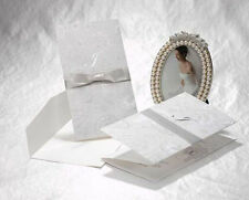 10x Elegant Wedding Invitation Card -White & Silver w/Ribbon;BulkBuy Disc. Apply