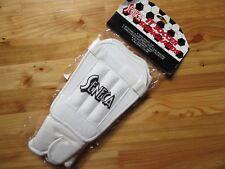 "Seneca Sports 11"" White Soccer Protective Shinguard' Stirrup Design Padded Ankle"