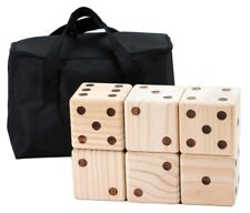 6 GIANT WOODEN YARD DICE WITH CARRYING BAG