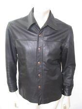 JOHNSON LEATHERS Black Leather Snap Motorcycle SHIRT Jacket USA MADE Size M/L