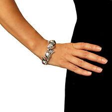 Grande 925 plata esterlina Taxco Deco de desplazamiento y en caja de regalo de pulsera de abalorios