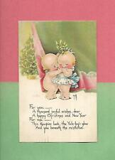 KEWPIES KISS, MISTLETOE Authentic ROSE O'NEILL Vintage 1918 CHRISTMAS Postcard