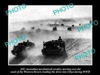 OLD POSTCARD SIZE PHOTO OF AIF ANZACS THE MECHANIZED CAVALRY IN LIBYA WWII