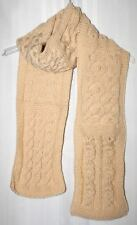 New Handmade Knitted Beige Cable Sampler Scarf