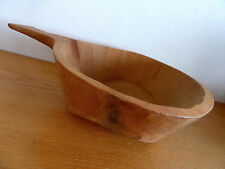 "Primitive Carved Wooden Bowl w/ Handle Vintage D 10"" W 14"""