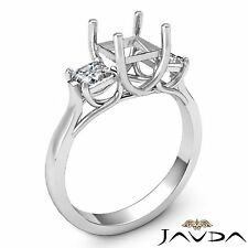 Diamond Engagement Trellis 3 Stone Ring 18k White Gold Princess Semi Mount 0.6Ct