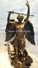 Archangel- Saint St. Michael Standing On Demon From Fountaine Statue Sculpture
