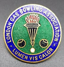 Vintage London Gas Bowling Association Enamel Pin Badge