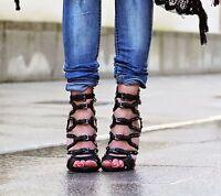 Zara Negro Sandalias Tiras Cuero Tacones UK 5 6