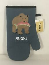 """Bear Salmon Hatley Quilted Oven Mitt - Right Hand - 12"""" Long"""