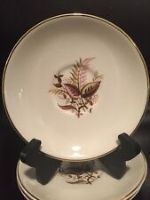 """T S & T 109 SAUCERS Pink/Green/BrownLeaves Gold Trim 6 1/4"""" LOT OF 3"""
