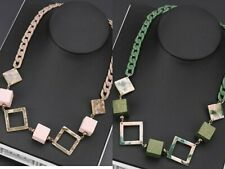 Cube Square Marble Chunky Exaggerate Statement Necklace, Green / Pink
