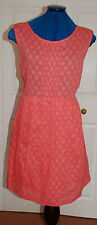 New Sz 16 Cotton Peachy-orange dress with embossed diamond pattern