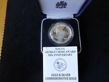 More details for 1992 silver proof malta 5 liri coin box + coa malta george cross award 50th