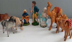 Vintage German Christmas Nativity Scene Set paper mache and Wood Lot of 9 🔥