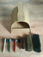 Vintage Hi-Shine Shoe Shine wood Box kit With Vintage Brushes