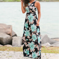 Women Casual O-Neck Sleeveless Floral Print Maxi Floor-Length Dress with Pockets