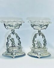 Stunning & Magnificent Rare Pair Of Antique European Silver Plate Center Pieces