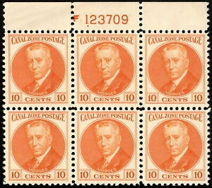 Canal Zone - 1932 - 10 Cents Orange General Hodges Issue 108 Mint NH Plate Block