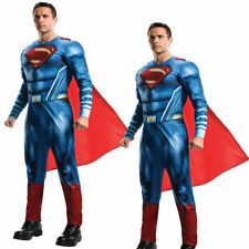 Adult Deluxe Superman Costume Licensed Mens Superhero Fancy Dress Outfit New