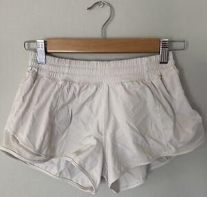 Lululemon 4 Run Speed Up Shorts Bright White Reflective Detail Zippered Pocket