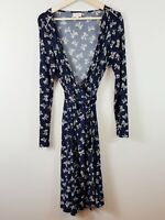 [ LEONA EDMISTON ] Womens Bow Print Wrap Dress  | Size 4 or AU 16 / US 12
