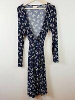 [ LEONA EDMISTON ] Womens Bow Print Wrap Dress  | Size 4 or AU 16 / US 12