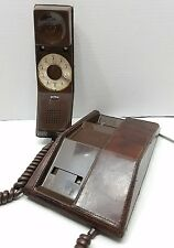 Northern Telecom Contempra Brown Leather Rotary Desk Telephone Tested & Working