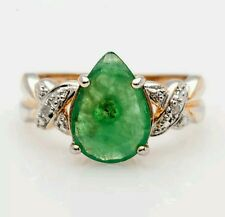 Estate 3ct Natural Pear Cut Emerald Diamond Sterling Silver 14k Gold Ring