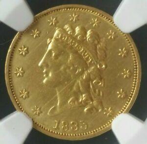1835 $2.50 Gold Classic Head Quarter Eagle NGC AU Details Cleaned