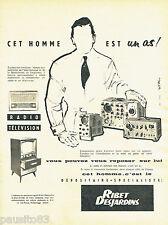 PUBLICITE ADVERTISING 125  1958  RIBET-DEJARDINS  radio télévision