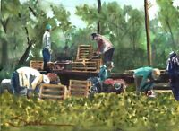 California Farm Workers :  Signed LE Art Print :  Sandra Watercolors™ California