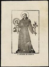 santino stampa popolare 1800 S.ANTONIO DA PADOVA