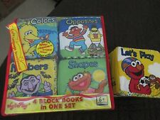 Vintage Sesame Street Block Books 4 In One Set + Extra