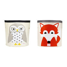 3 Sprouts Canvas Storage Bin & Toy Basket for Baby & Toddlers, Owl & Fox