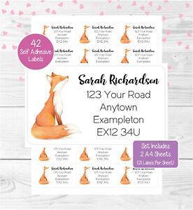 Fox Personalised Address Labels, 42 Custom Self Adhesive Return Stickers