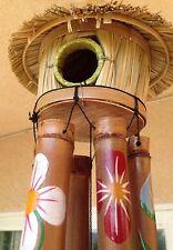 Tiki Bird House Bamboo Wind Chimes Hawaiian Tropical Beach Bar Patio Decor $100.