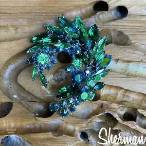 "Sherman ""Dragon"" Brooch Peridot/Green Tourmaline, Emerald/Emerald AB.Glows."