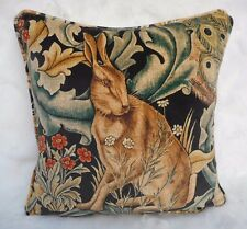 William Morris Fabric Cushion Cover 'Forest' Charcoal - Velvet - Hare - 18""