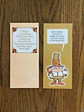 New Vintage Pair Of Thanksgiving Cards 1970's Both Cute & Funny