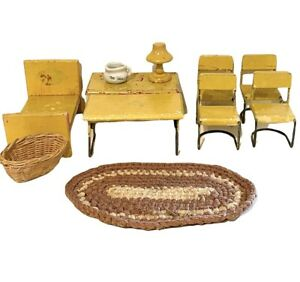 Lot of Vintage Miniature Wood & Metal Dollhouse Furniture Yellow Living/Dining